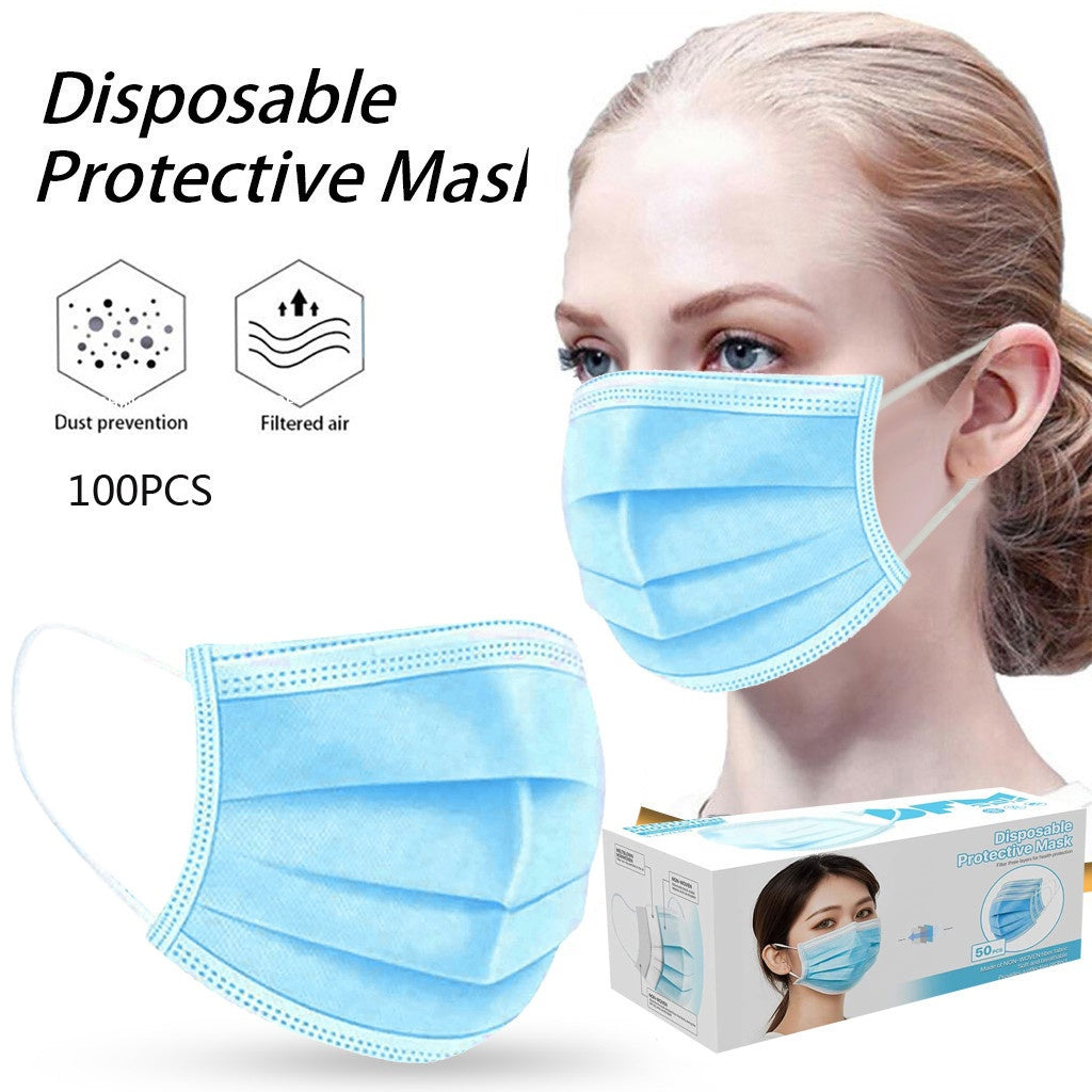 50/100PCS Disposable Teenager Adult Masks  Face Mask Cover Anti Dust 3 Layer Mouth Filter Masks
