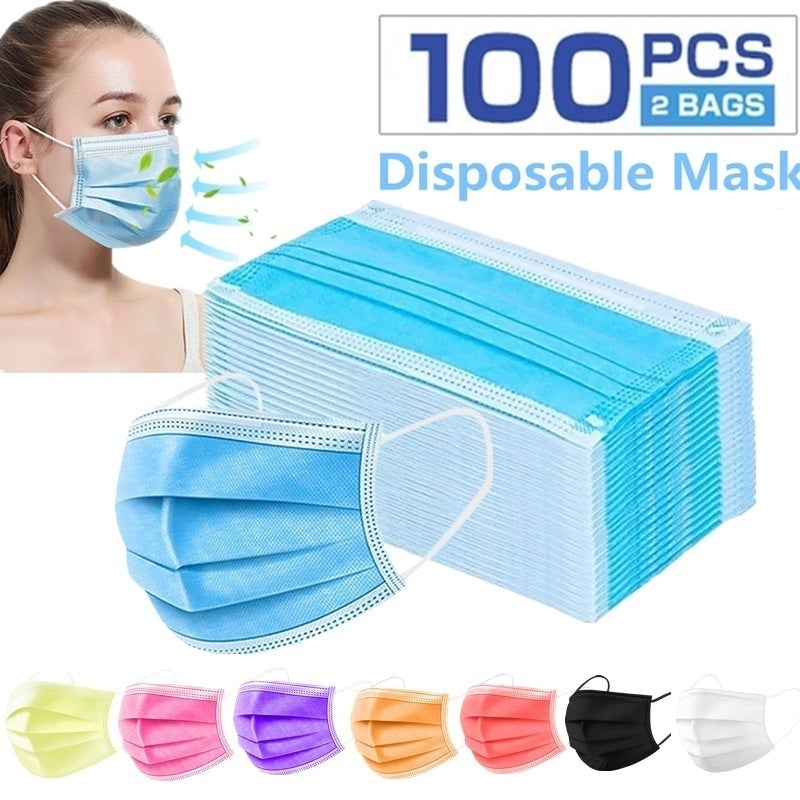 Disposable Mouth Mask Face Mask 3 Layers Durable Masks Non Woven Fabric Anti-Dust Anti Pollution Earloops Masks 1pc/50pcs/100pcs