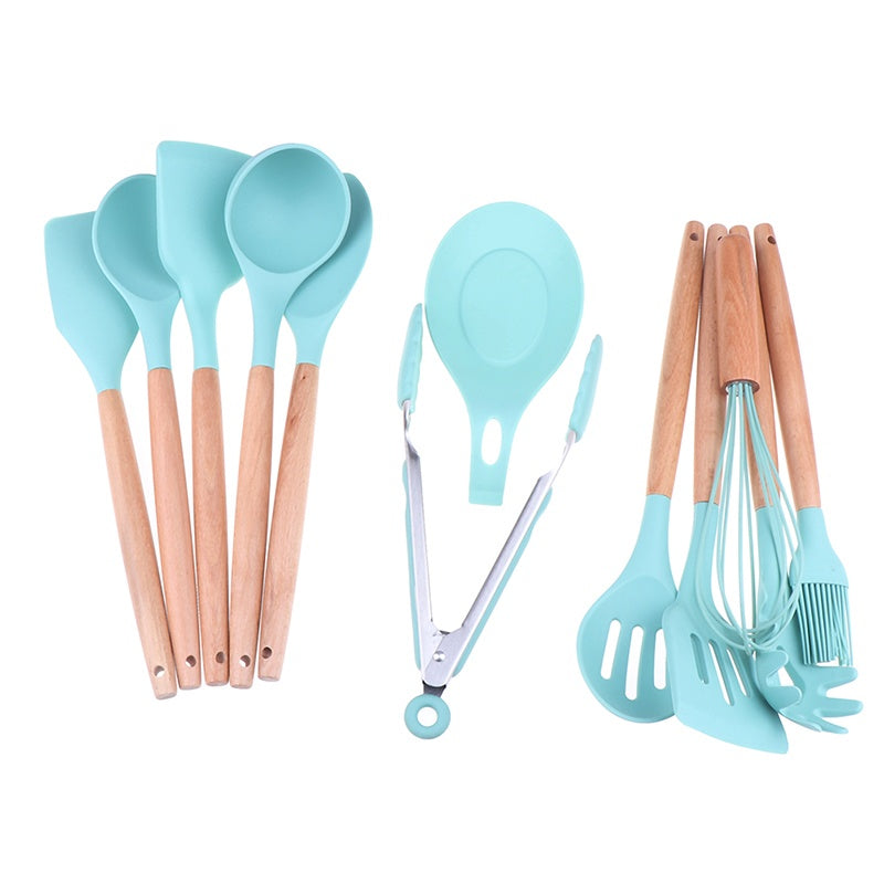 Silicone Cooking Kitchen Utensils Set Bamboo Wooden Handles Cooking Tools