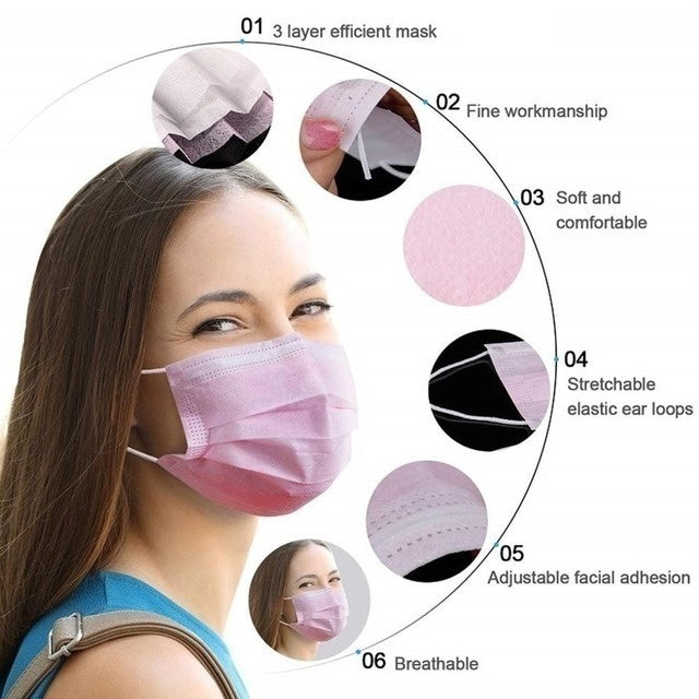50/100 Pcs Disposable  Cloth Face Mask Non-woven Breathable Three-layer Mouth Mask(Blue/Black/White/Green/Yellow/Purple/Pink)
