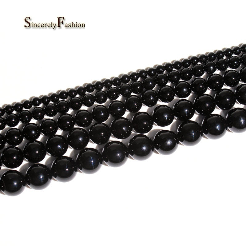 Natural Black Agate Stone Round Loose Beads For Jewelry Making Bracelet 15 inches 4/6/8/10/12/14mm Pick Size