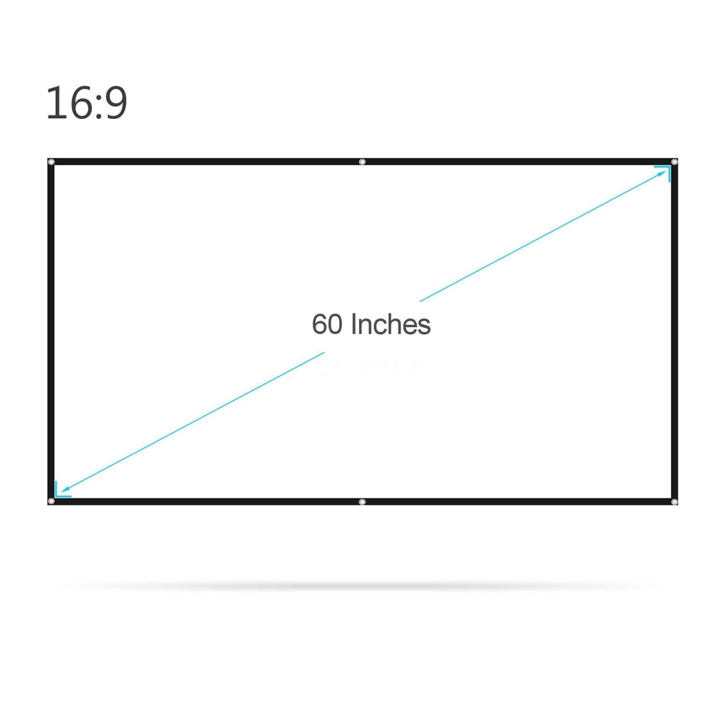 150/ 100/ 60 Inches Projector Screen Widescreen 16:9 Portable Projection Screen Anti-Crease Foldable Indoor Outdoor Projector Movies Screen for Home Office