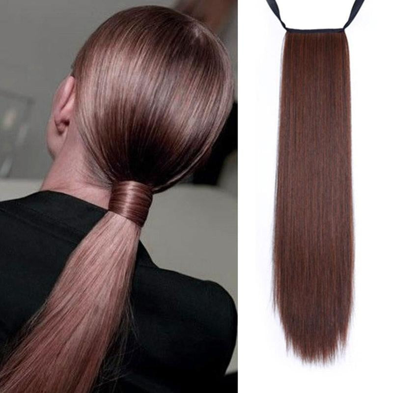 80cm Super Long Straight Clip In Tail False Hair Ponytail Hairpiece With Hairpins Synthetic Pony Tail Extensions