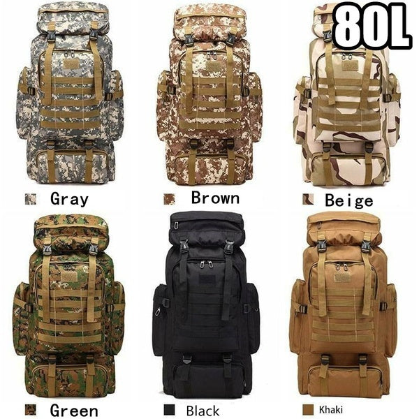 80/100L Large Capacity Waterproof Camo Outdoor Tactical Backpack Mountaineering Camping Hiking Military Water-repellent Tactical Bag