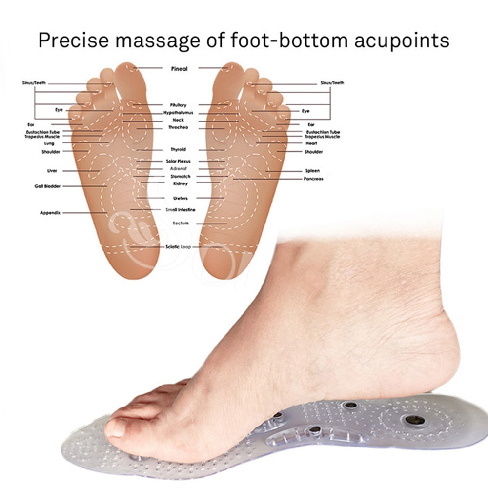1 Pair Men Women Magnetic Foot Massage Insoles Silicone Gel Insole Foot Acupoint Weight Loss Magneto Therapy Insloes
