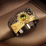 Exquisite Sunflower Micro Olivine Ring 925 Sterling Silver In Black Gold&18k Gold Plated Ring Birthstone Bridal Wedding Engagement Anniversary Gift Jewelry Size 5-11