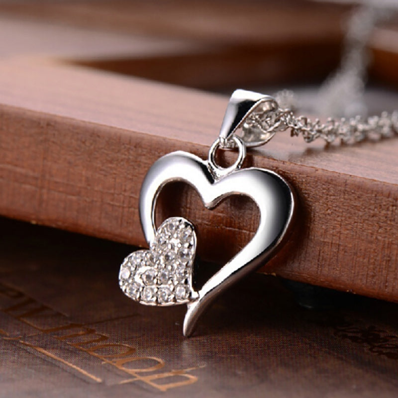 Diamond Two Love Heart Pendant 925 Sterling Silver Necklace Women'S Fashion Clavicle Chain