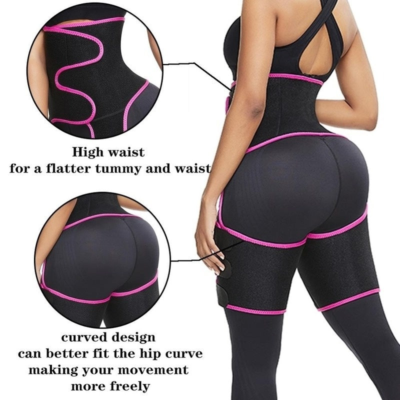 2020 New Neoprene Slimming Abdomen Lifting Hip Girdle Three-in-one Leggings Leg Shaper Weight Loss Belt Waist Trainer Sweat Slimwear Fat Burning Compression Belt