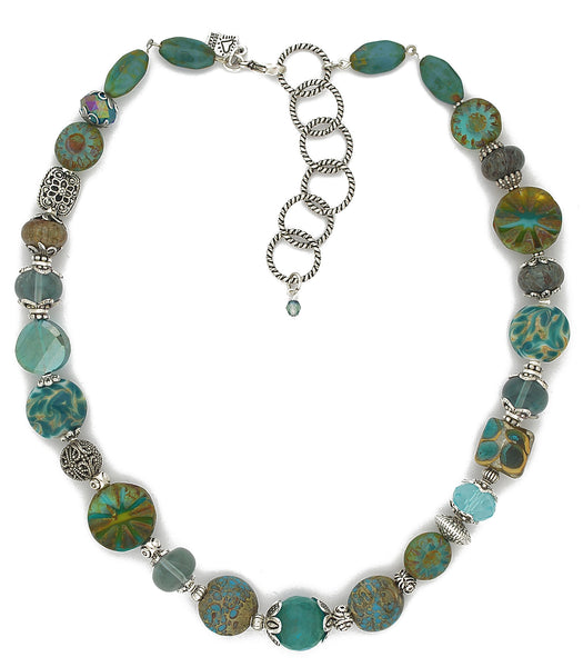 Ultra cool chunky beaded necklace with a wonderful collection of different glass, jasper, agate and pewter. With sterling plated and antiqued brass chain. Yum! Approx 18 - 20.25""