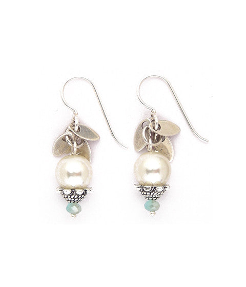 "Sweet little column of glass pearls, sterling plated brass leaves, pewter caps and sea-colored faceted crystal beads. Silver-fill ear wires. Approx 1.25"" long."