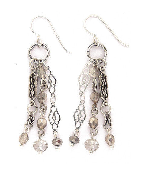 "Very tassel-like in style. This is a nice collection of contrasting elements - love the lace-y shiny silver color chain! Multiple crystals in shades of grey. Silver fill ear wires. Approx 2.25"" long"