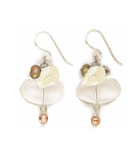 "Our favorite neutral pallet includes both keishi pearls and freshwater pearls, nicely cut oval glass plus sparkling two-toned copper flash druks (that's a round bead!). Silver fill ear wires. 1.5"" long"