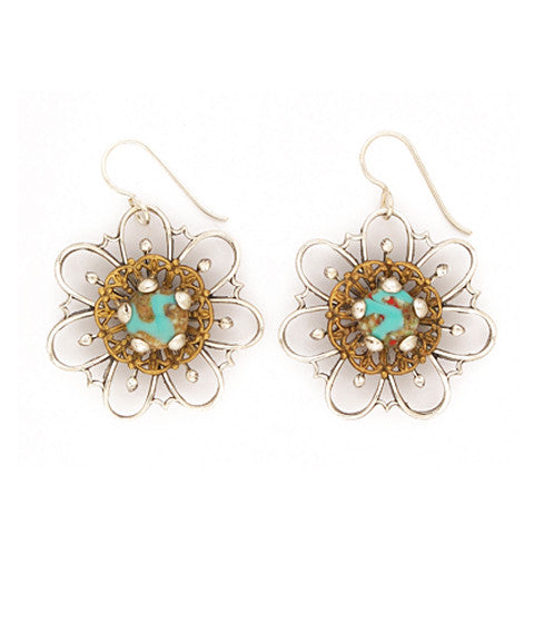 "Our bold, curved flower stamping in brass, with a sterling plated and antiqued filigree center and a turquoise with matrix glass cab. Silver fill ear wires. 1.75"" long x 1.25"" wide."