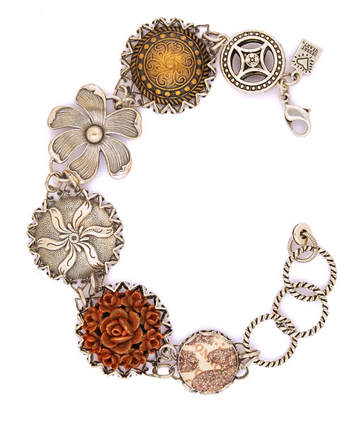 "Wonderful, vintage inspired link bracelet with fabulous elements - antiqued brass, buttons, sterling plated brass, art paper, and metalized acrylic. 7.5""-9"" long"
