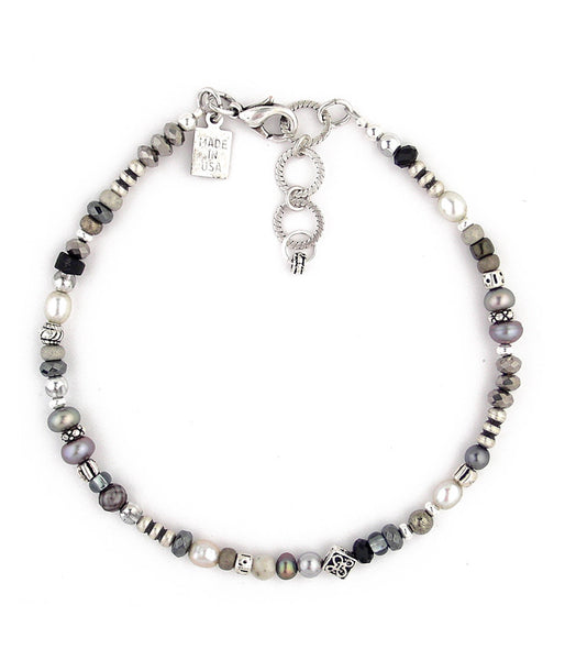 "Another little gem of a anklet made up of luscious freshwater pearls, crystal, glass, pewter and sterling plated and antiqued brass. 9.25""-10.50"""