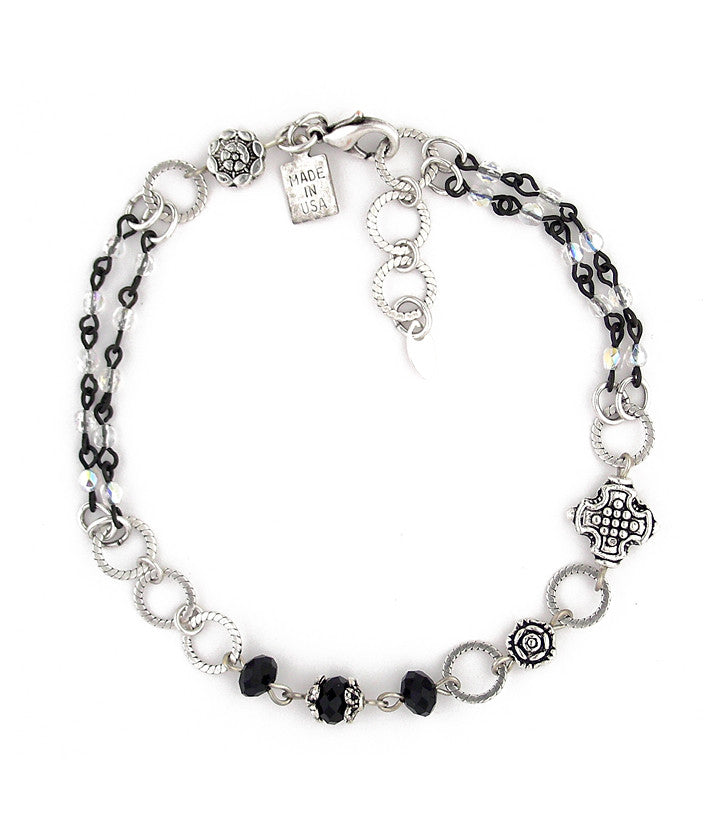 "Very stylish! A classic color combo of jet, crystal and silver. Here we have crystal, black plated glass bead chain, pewter and sterling plated brass. Goes with everything! 9.25""-just over 10"""