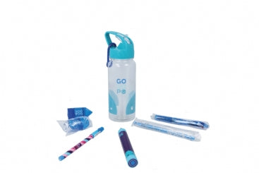 GoGoPo Blue Sports Bottle Bundle filled with stationery