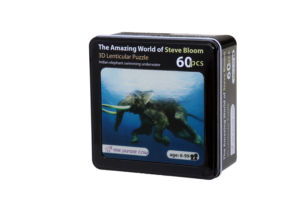 The Amazing World of Steve Bloom 3D Puzzle 60pcs Indian Elephant Swimming Underwater