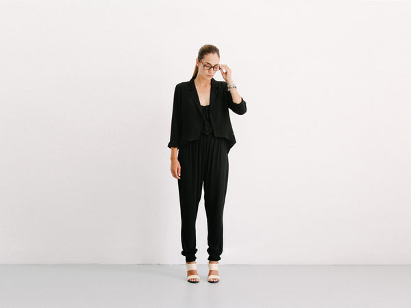 Black Ruffle Detail Jumpsuit