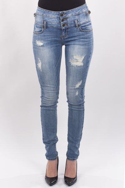 Eunina Jeans Women's High Waisted Stretch Skinny Denim Jeans - Light Wash