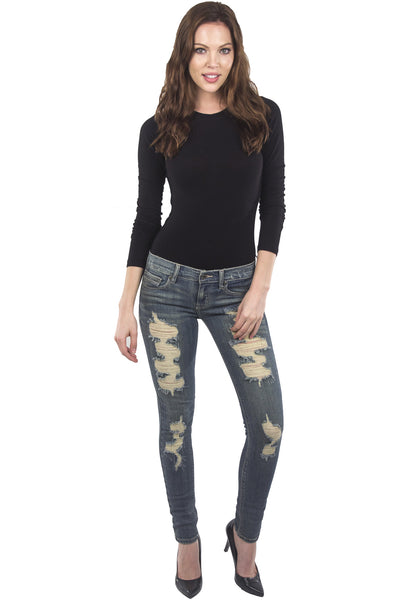 Low Rise Yellow Tint Novelty Skinny Jeans by Eunina Jeans