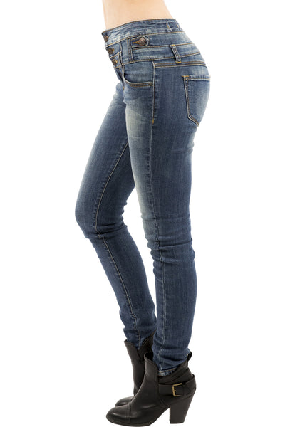 Eunina Jeans Women's High Waisted Stretch Skinny Denim Jeans - Medium Wash