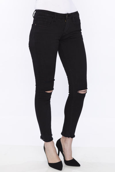 Black Ripped Knee Skinny Jeans with Frayed Crop Hem by Machine Jeans