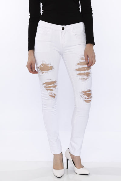 White Mid Rise Distressed Ripped Stretch Skinny Jean by Machine Jeans