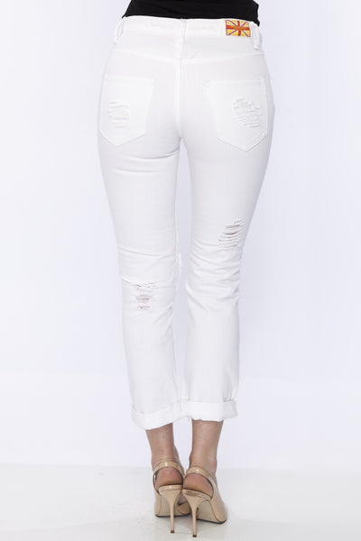 High Mid Rise White Relaxed Ripped Boyfriend Jeans High Mid Rise by Machine Jeans