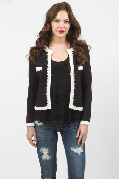 Lynn Classic Angora Sweater Cardigan - Black W/ White by Prima Collection