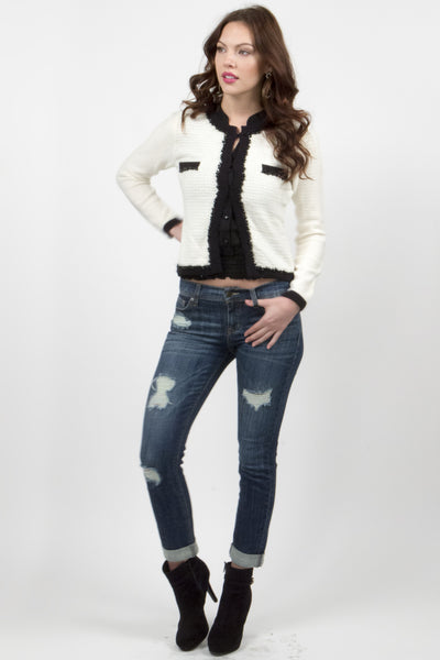 Lynn Classic Angora Sweater Cardigan - White W/ Black by Prima Collection