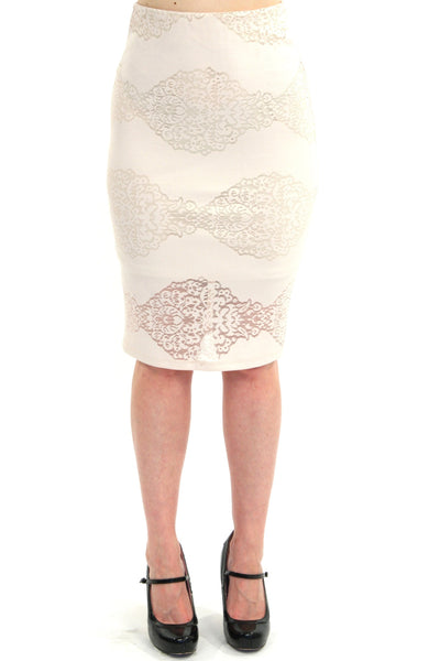 Joan Skirt - Taupe Lace Overlay Pin Skirt