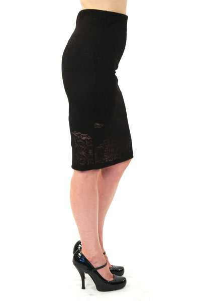 Joan Skirt - Black Lace Overlay Pin Skirt