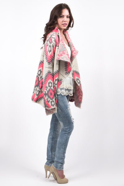 Gray And Pink Aztec Pattern Loose Fitting Drape Cardigan