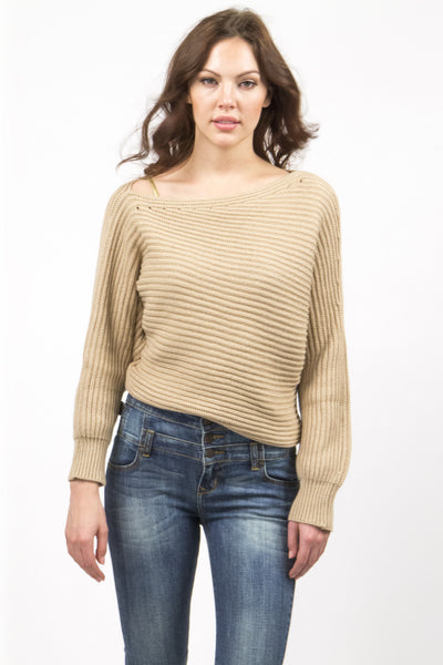 Asymmetrical Cropped Knit Sweater - Beige