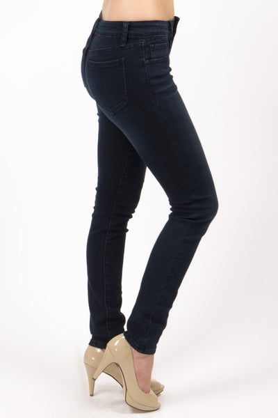 "Mid Rise Super Soft Super-Stretchy Skinny Jean by ""Pure Dark"" Eunina Jeans"