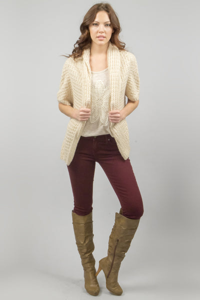 Chunky Knit Loose Fitting Sweater Cardigan - Cream
