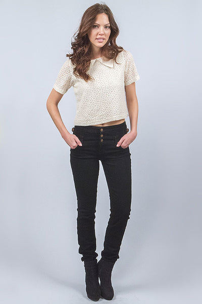 Plus Size High Waist Multi Button Skinny Jean - Black By Eunina Jeans