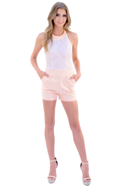 Lux Lace Romper - Blush Pink