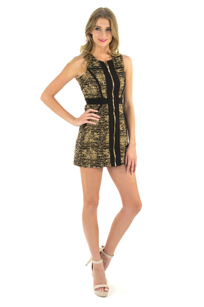 Mod Twist Dress - Black & Gold