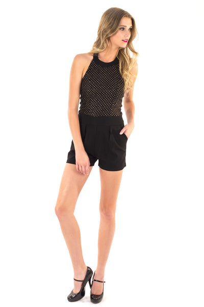 Lux Lace Romper - Black