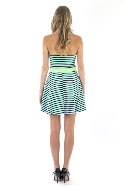 Stripe Me Up Dress - Mint / Lime