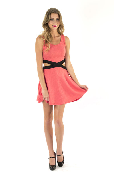 Knit Peek-A-Boo Dress - Coral