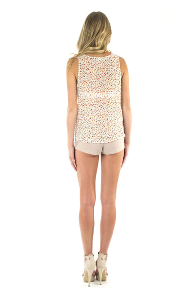 High Waist Knit Shorts - Nude