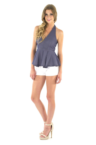 Betty Peplum Halter Top - Navy