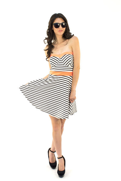 Stripe Me Tube Dress - White / Orange