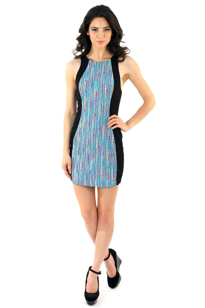 Mix It Up Body Con Dress - Blue