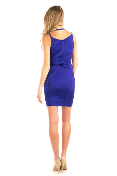 Crossover Body Con Dress - Royal Blue