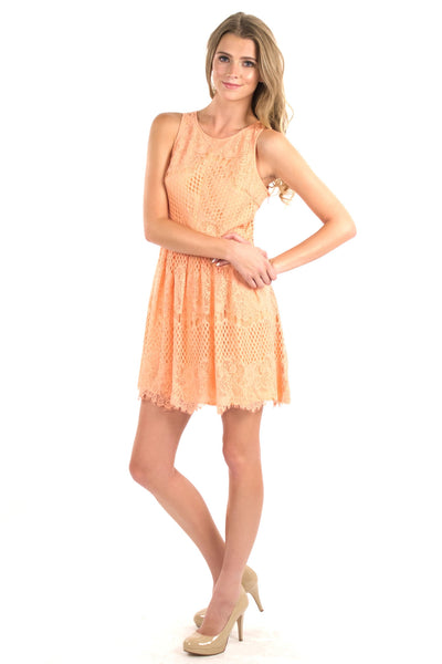 Chantilly Lace Dress - Peach