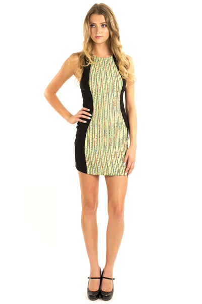 Mix It Up Body Con Dress - Lime